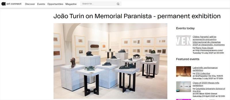 Exposição de João Turin no Memorial Paranista é destaque em publicação alemã.