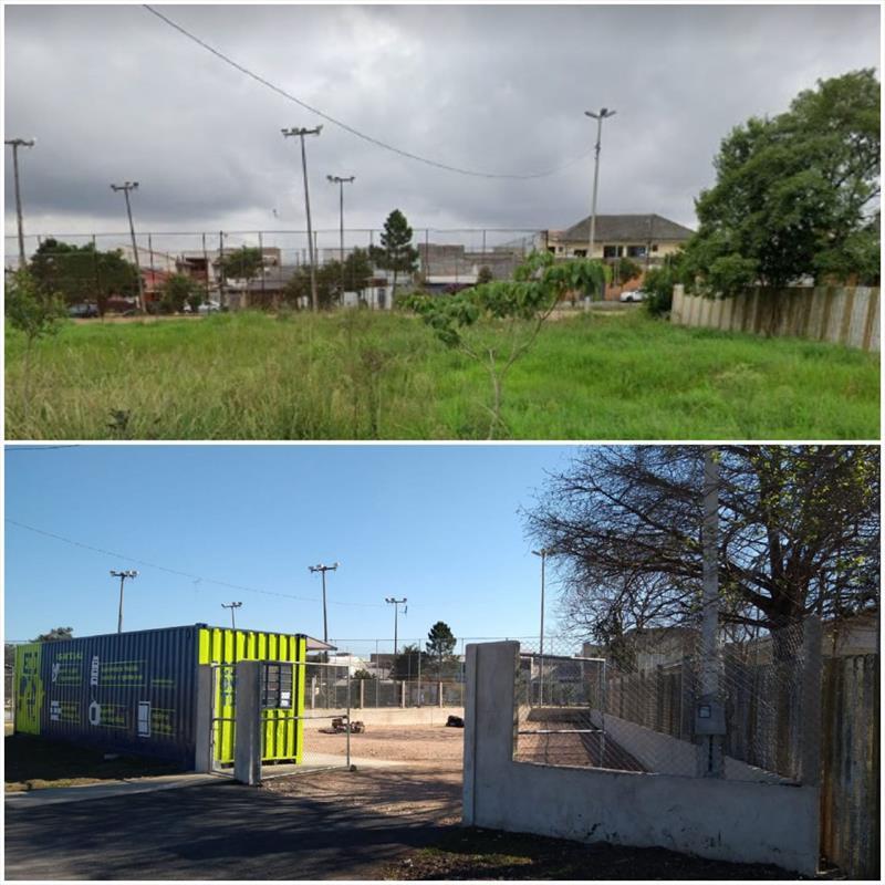 Uberaba ganha 14º ecoponto de Curitiba. - Na imagem, antes e depois. Foto: Divulgação