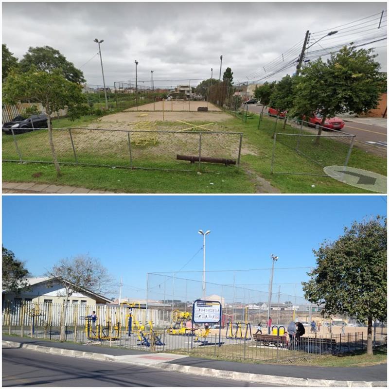 Praça Homero Morinobu Guido, foi revitalizada com um investimento de R$ 550 mil, em cinco meses de obra. - Na imagem, antes e depois. Foto: Divulgação