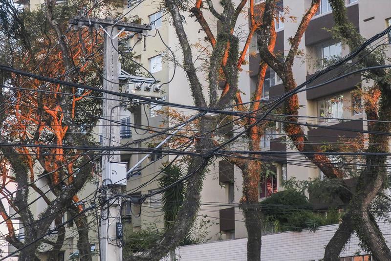 Cabos soltos em postes, por ligações clandestinas, poluem a cidade e são um risco aos habitantes. - Na imagem, postes na Republica Argentina. Foto: Ricardo MArajó/SMCS