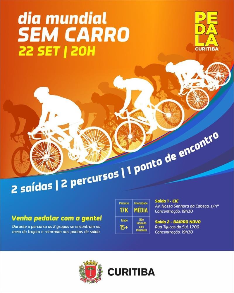 Pedala Curitiba da CIC e do Bairro Novo celebram o Dia Mundial Sem Carro.